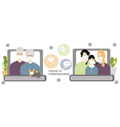 internet communication with family concept banner vector image