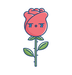 kawaii sad crying rose flower vector image