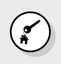 Key with keychain as an house sign flat vector