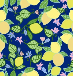 Lemons with leaves seamless pattern on blue backg vector