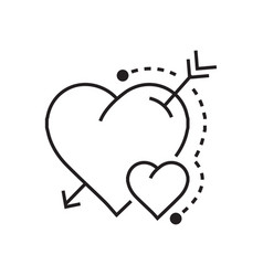 Line heart and arrow vector