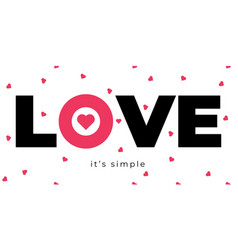 love poster with heart and letters cute card vector image