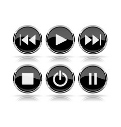 Media buttons black round glass buttons with vector