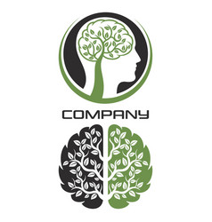 modern brain tree logo vector image