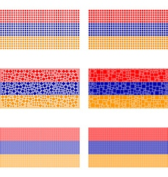 Mosaic Armenia flag set vector