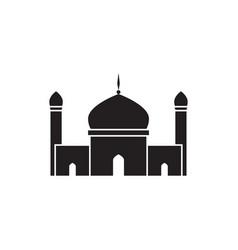 mosque twin tower mosque silhouette graphic design vector image