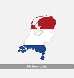 Netherlands map flag vector