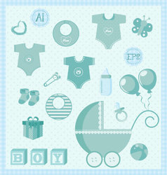 New born baby boy set vector