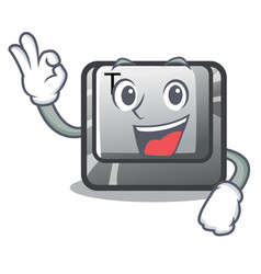 Okay t button installed on character computer vector