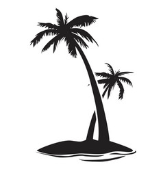 Palm tree island silhouette vector