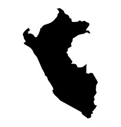 peru - solid black silhouette map of country area vector image