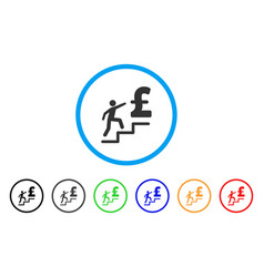 pound business stairs rounded icon vector image