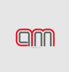 Red grey alphabet letter logo combination am a m vector