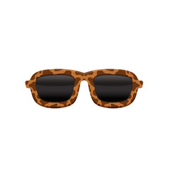 Retro sunglasses with black lenses and frame with vector