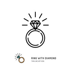 Ring with diamond icon engagement and wedding vector