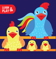 rooster hen chicken on farm kid graphic drawing vector image