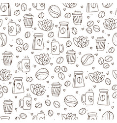 seamless coffee pattern with coffee beans vector image