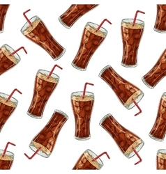 Seamless pattern cola scetch and color vector