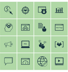 set of 16 marketing icons includes intellectual vector image