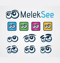 Set of eyes logo design vector