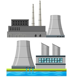 Set of factory buildings vector image