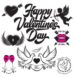 set of patterns for love cards for valentines day vector image