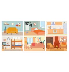 Set six different home room interiors vector