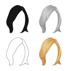 Shortwhite back hairstyle single icon in cartoon vector