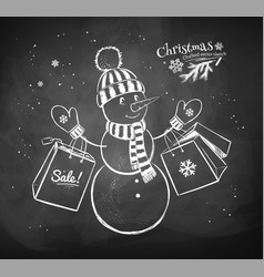 snowman character with shopping bags vector image