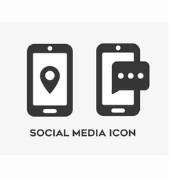 Social media icon set with smart phones vector