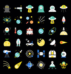 Space exploration icon set flat design vector