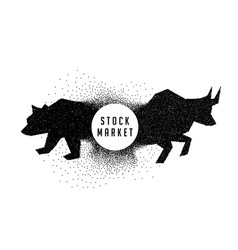Stock market concept design showing bull and bear vector