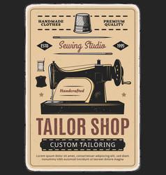 Tailor shop sewing studio retro poster vector