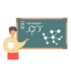 Teacher at chemistry school lesson man point at vector