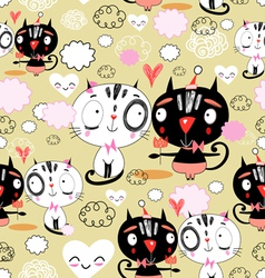 texture love kittens vector image