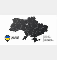Ukraine map with general information infographics vector