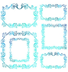 Vintage ornamental frames Blue calligraphic winter vector image