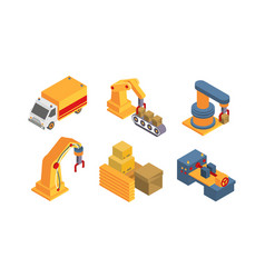 warehouse objects and equipment set intelligent vector image