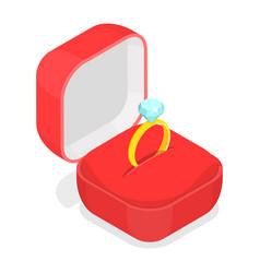 Wedding ring in box isometric vector