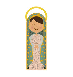White background of virgin of guadalupe with aura vector