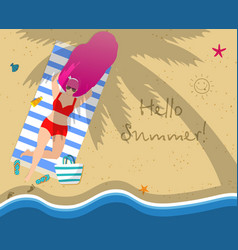 young woman on beach hello summer typography vector image
