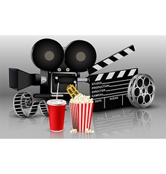 Films with popcorn and drink vector image