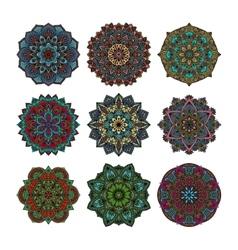 Mandala pattern flower set vector image
