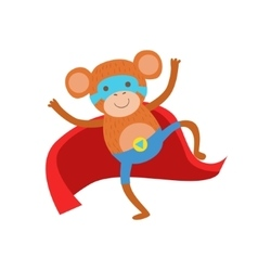 Monkey Animal Dressed As Superhero With A Cape vector image