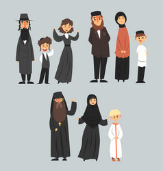 people of different religions in traditional vector image