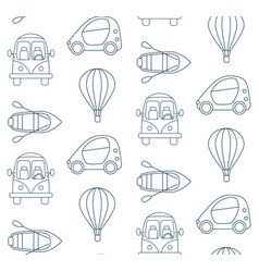 seamless pattern made of cartoon linear transport vector image vector image