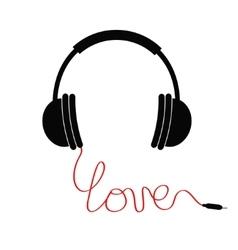 Black headphones Red cord in shape of word love vector image