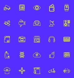Hitechnology line icons green color vector image