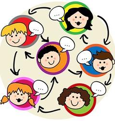 Kids social network vector image
