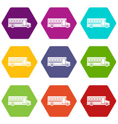school bus icon set color hexahedron vector image
